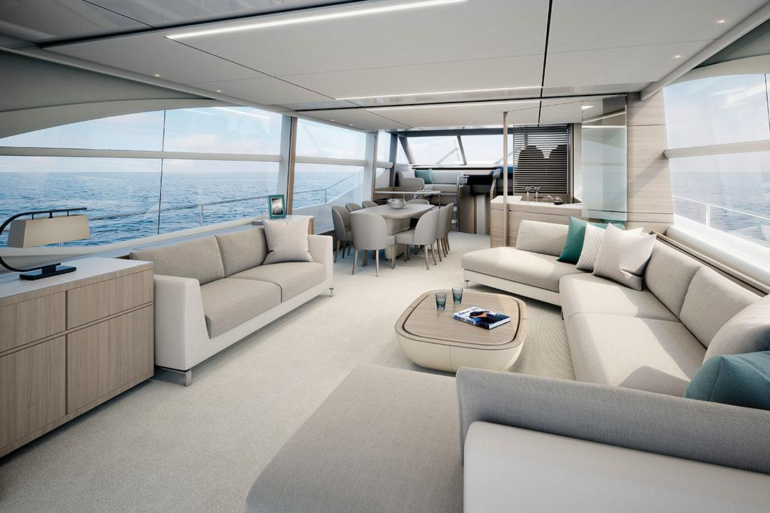 75 motor yacht interior saloon alba oak satin