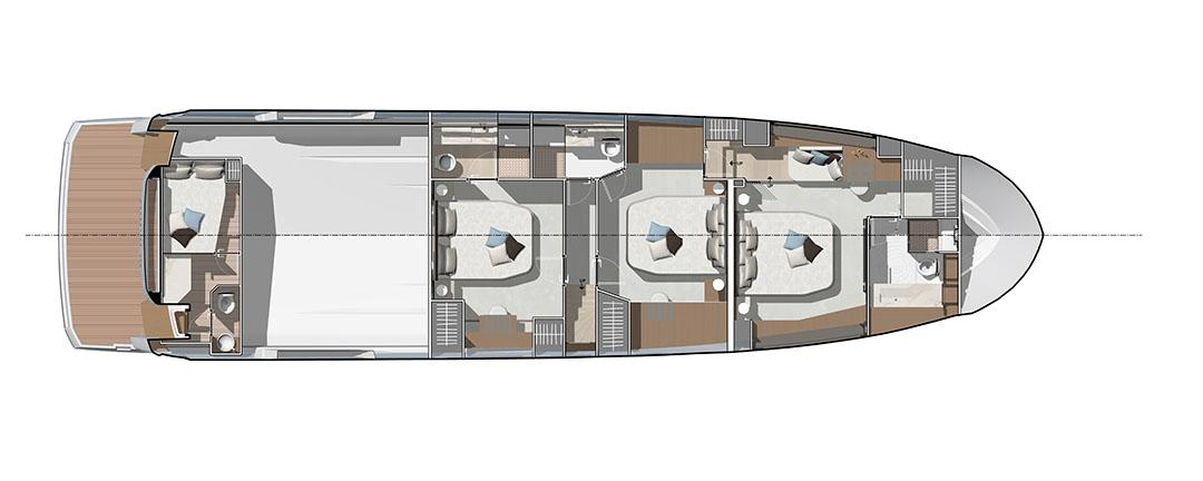 prestige x70 layout 3 cabins