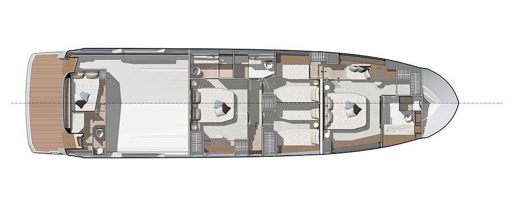 prestige x70 layout 4 cabins